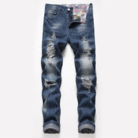 Wholesale mens spring style online - Mens Designer Jeans Straight Big Hole Loose Type Spring Summer New Style Fashionable Urban Wind Pants