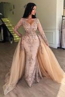 bata soiree peplum al por mayor-Árabe Champagne lentejuelas de la sirena de los vestidos de noche con falda desmontable con cuello en V de Dubai formal de las mujeres vestidos de baile mangas largas robe de soiree