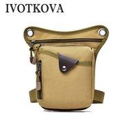 klasik alet çantaları toptan satış-IVOTKOVA Vintage Kanvas Çanta erkek Omuz Çantası Bacak Paketi Bel Fanny Tool Kit Fermuar Organizatör Çanta Rahat Kemer Çantalar