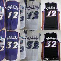 Wholesale men basketball uniforms resale online - Basketball John Stockton Jerseys Men Purple White Color Karl Malone Jersey Vintage Uniforms All Stitched High Quality