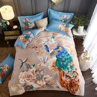 ingrosso letti orientali-Oriental Pastel Peacock Print Bedding Set Queen King Size spazzolato copriletto in cotone copripiumino tessuti per la casa per l'inverno