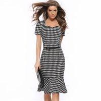 vestido de pescoço venda por atacado-2019 Nova Xadrez Fishtail Vestido Houndstooth Magro Pacote Vestidos de Trabalho Mulher Vestido de Noite Lápis Saia Cinto de Presente