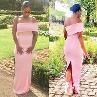 Wholesale african bridesmaids online - Modern Pink South African Nigeria Girls Mermaid Bridesmaids Dresses Elegant One Shoulder Backless Slit Long Wedding Guest Wear Gowns bc1565