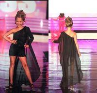 Wholesale evening dresses for little girls resale online - 2019 One Shoulder Flower Girl Dresses For Evening Party Lace Little Girls Birthday Party Dress with Cape Toddler Pageant Dress Romper