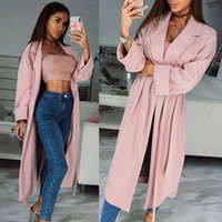 ingrosso trincee rosa femminile-Autunno Donna Rosa Lungo Trench Turn-down Collar Elegante Trench sottile con cintura Ladies Business Pink Long Coat Slim Outwear