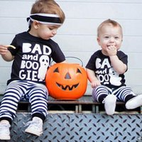 Wholesale pants short sleeves suits boys girls for sale - Group buy Toddler Boy Striped Suit Halloween Infant Baby Boy Girls Long Sleeve Cartoon Letter Ghost Tops T Shirt Striped Elastic Pants Two Piece Set