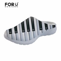дом примечаний оптовых-FORUDESIGNS Music Notes with Piano Keyboard Print Summer Men Sandals Fashion Breathable Mesh House Slippers Men's Flats Sandals