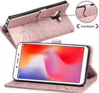 Wholesale lotus iphone online – custom Datura flowers Wallet Leather Cases Lotus pattern case For Iphone X XR XS MAX S SAMSUNG Galaxy Note S9 ID CARD Slot Lace Free Ship