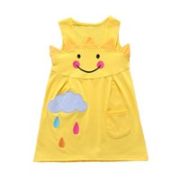 emoticon kleidung großhandel-Kleinkind Baby Mädchen Lächeln Emoticon Wetter Regen Tag Drucken ärmellose Cartoon Sun Cloud Print Tasche 3D Kleid Kleidung