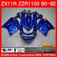 91 kawasaki ninja zx 11 großhandel-Körper für KAWASAKI NINJA ZX 11R ZZR 1100 ZX-11R 1990 1991 1992 30HC.135 ZX11 R ZZR1100 blaue Flammen ZZR-1100 ZX-11 R ZX11R 90 91 92 Verkleidungen
