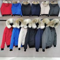 2020 Real Wolf Fur Herren Designer Winterjacke Gänsedaunenjacke PBI Bomber Parka Puffer Jacke Mäntel Warmer Mantel Jaqueta Rot Schwarz Label