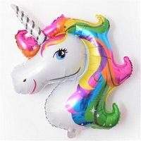 dibujos animados de globos de papel de aluminio al por mayor-108cmx88cm Rainbow Unicorn Globos de papel de aluminio Globo de animales de dibujos animados Helio Float Ball Kid's Toy Party Decoraciones de regalo