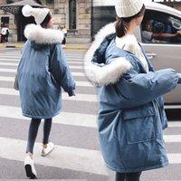 ağır bayanlar toptan satış-2018 Gri Mavi Ağır Hat Down Jacket Kış Giyim Sıcak Pamuk dolgulu Giyim Gevşek cüppe Kadın Dış Giyim Windproof Coat