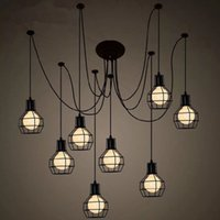 Wholesale black iron cage resale online - Retor Art Deco Iron Cage Pendant Lights Nordic Creative DIY Droplight LED Pendant Lamps Living Room Cafe Bar Lighting Luminaire