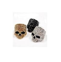 anel de cristais pretos venda por atacado-Marca Crânio Anéis Para Mulheres Dos Homens Do Punk Rock Unisex Cristal Preto / Ouro / Cor De Prata Motociclista Anel Masculino Moda Jóias Acessórios Do Crânio