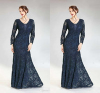 Wholesale illusion long sleeve mother bride dress for sale - Group buy 2020 Sexy Navy Blue Lace Mother of the Bride Groom Dresses with Illusion Long Sleeves V neck Sheath Cheap Mother Evening prom Dress