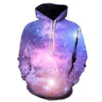 galaksi kazak erkek toptan satış-Kazak hoodie Galaxy Menekşe Yıldızlı Gökyüzü Dazzle erkek Giyim 3d Dijital Uzun Kollu Bile Caps