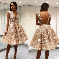47f49fa10e7 Short Knee Length Prom Dresses Sheer Deep V Neck Backless 3D Floral  Appliqued Lace Formal Evening Gowns A Line Party Dress