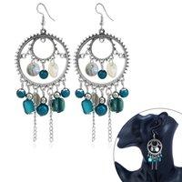 Wholesale bohemian tassel earrings resale online - Women Bohemian Style Round Tassel Drop Earrings Vintage Pear Stones Earrings for Dance Party CX17