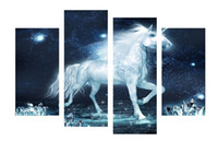 ingrosso arredamento in fantasia-4 pz / set Unframed White Unicorn Horse Fantasy HD stampa su tela Wall Art Picture per la casa e Living Room Decor
