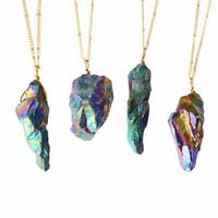 pedras de quartzo para jóias venda por atacado-Novo Ponto de Quartzo de Cristal Natural Banhado A Ouro Cura Colar De Quartzo Colar de Pedras Preciosas Pedra Colorida Pedra Natural Pingente de Colar de Jóias