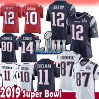 Wholesale 12 Tom Brady Rob Gronkowski Jersey New Patriots Julian Edelman  Josh Gordon Brandin Cooks Super f04e1b4bb