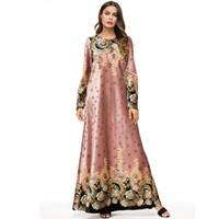 abaya jilbab kaftan großhandel-UAE Abayas Für Frauen Winter Kaftan Katar Bangladesch Samt Moslemisches Hijab Kleid Frauen Jilbab Robe Dubai Türkische Islamische Kleidung