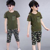 meninas camuflagem shorts venda por atacado-2018 crianças de verão roupa de camuflagem menino t-shirt + shorts 2 pcs conjunto menina algodão exército verde esportes imprimir calça terno