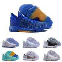 ingrosso scarpe blu kd-Nuovo Zoom KD 10 Anniversary University Rosso Ancora Kd Igloo BHM Oreo Uomo Scarpe da basket Nero di alta qualità kevin durant 10 Scarpe casual