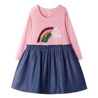 sonbahar bebek partisi elbisesi toptan satış-Payetli Bebek Kız Pamuk Güz Elbise Unicorn Parti Elbise Uzun Kollu Sevimli Kız Jersey Elbise Aplikler ile Tasarımcı Çocuk Giysileri 2-7Years