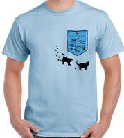 бесплатные карманные киски оптовых-Аквариум карман - мужская забавная футболка кошки котята кошачья Киска симпатичные Аквариум мужчины женщины мужская мода футболка Бесплатная доставка