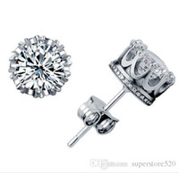 Wholesale new wedding ring gold jewelry resale online - New Crown Wedding Stud Earring New Sterling Silver CZ Simulated Diamonds Engagement Beautiful Jewelry Crystal Ear Rings