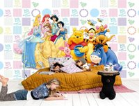 Wholesale princess mural stickers for sale - Group buy custom size d photo wallpaper living room kids room mural Cartoon Bear Princess d picture sofa TV backdrop wallpaper non woven sticker