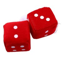 Wholesale vintage dice for sale - Group buy Pair Red Fuzzy Plush Dice Dots Rear View Mirror Hanging Hangers Vintage Auto Accessories Car Styling