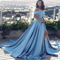 Elegant Hot Sell Ball Gown Off-the-Shoulder Court Train Women Formal Evening Gown Blue Satin Prom pageant Dress Split vestido formatura