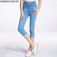 denim caprihose für frauen großhandel-Frauen nehmen Jeans-Shorts Plusgröße-weibliche Kalb-Länge Hosen Enge Capri-Hosen Gummizug in der Taille mit hohen Taille kurze Jeans