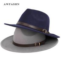 Top Vintage Wide Brim Hat Mens Pork Pie Hats Women's Felt Hat Autumn Winter Men's Hat Wool Luxury Woman Bone Large Size Big Y19052004
