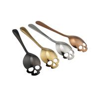 Wholesale sweet spoon resale online - 4styles Skull Shaped Stainless Steel Spoons Dessert Ice Cream Sweets Teaspoon Sugar Stir Coffee Spoons cm FFA2098