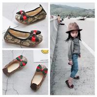 Wholesale children dance shoe resale online - kids girls soft bottom Flat Bow princess shoes Size Children Shoes spring and summer Baby Girls Dance Shoes