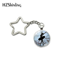 colgante de zinc estrella al por mayor-Nuevo Vintage Ballerina Silhouette Art Men Women Star Keychain Fashion Degas Dancer Bag Colgante Key Chain Holder Jewelry Gift