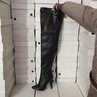 ingrosso scarponi di tacco-Kolnoo Hot Nuovo arrivo Womens Spool Heel stivali alti sopra la punta stivali invernali sopra il ginocchio Casual Dance Club moda Dressing Shoes D148