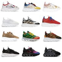 Wholesale mens flat chains resale online - Chain Reaction sneakes designer Sneakers Mens Women sport shoes leather Casual Shoes Trainer Lightweight sole with box