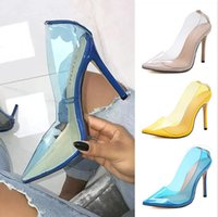 salto alto amarelo sexy venda por atacado-Sexy moda feminina festa de casamento das mulheres sapatos stilettos saltos altos apontou toe transparents bombas sapatos amarelo azul