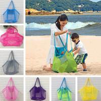 Wholesale beach totes sale resale online - Children Beach Toys Bags Sand Away Mesh summer Tote Bag Kids boys Towels Shell Sand Storage Bags Women folding Shopping Handbags sale D3302