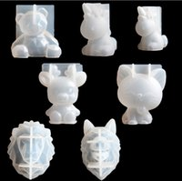 Wholesale aromatherapy animals resale online - Transparent Unicorn Silicone Epoxy Resin Molds Geometry Bear Rabbit Mould Animal Aromatherapy Candle Making Form Decoration