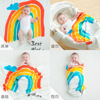 arka poşetler toptan satış-4 renkler Muslin gökkuşağı bebek battaniye yenidoğan pamuk Uyku Tulumları kundaklama wrap battaniye fotoğraf arka plan hatıra battaniye