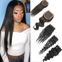 Wholesale deep wave virgin closure piece for sale - Brazilian Deep Wave Hair Closure with Top Lace Unprocessed Straight Water Body Wave Kinky Curly Virgin Human Hair with Ear to Ear Frontal