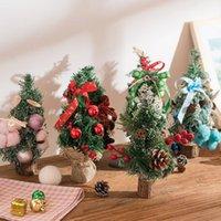 розовые настольные украшения оптовых-Multi конструкции рождественские украшения мини Рождественская елка настольные украшения орнамент подарок