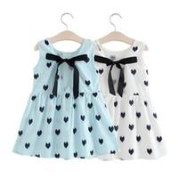 bebek parti elbisesi desenleri toptan satış-3 renkler Toptan Bebek Elbise Kız Retro Pamuk Blend Bluz Pamuk Kız Kolsuz Backless Tığ Işi Desen Prenses Parti Elbise