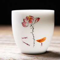 Wholesale hand painted chinese paintings resale online - Hand Painted Pu er Tea Cup Jingdezhen Thin Drawing Flower Teacup Chinese Handmade Small Kung Fu